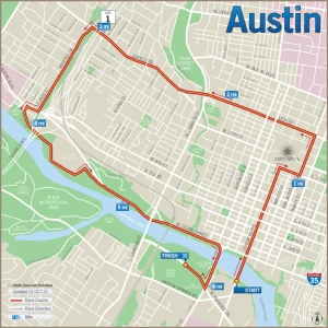 Austin Capital 10K Race Route Map